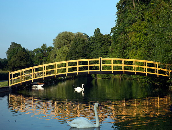 Wooden bridges for lakes, streams and large ponds
