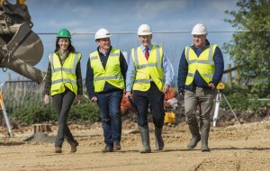 (l-to-r) On site Rachel Kay Tom Parker James Sutcliffe and Richard Kay