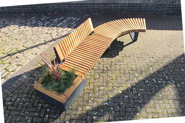 RailRoad planters & integrated seating NEW from Furnitubes International