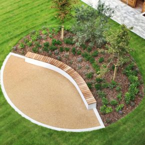 Green Roofs and Curved Benching in an Urban Village Courtyard