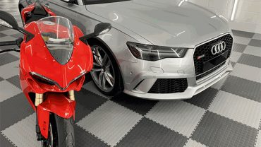 Improve and Organise Your Garage or Workshop with Professional Cabinets and Floor Tiles.