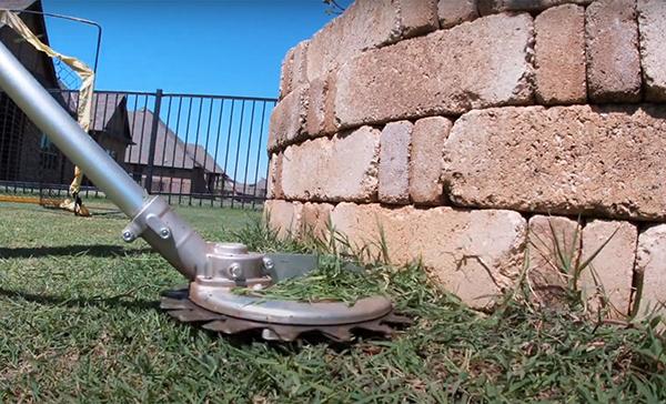 Prevent flying debris.Innovative attachment for string trimmer or brush cutter. POWER ROTARY SCISSORS